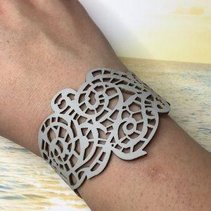 Hollow Laser Cut Gray Bracelet